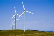 Four wind turbines on Starfish Hill, South Australia.