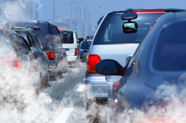 pollution of environment by combustible gas of a car