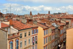 Ancient colorful buildings in Toulouse