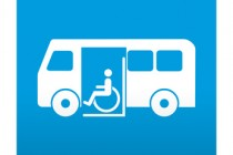 Etiqueta tipo app azul simbolo autobus para minusvalidos