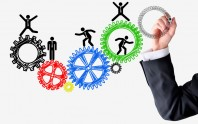 Human resources spinning wheels concept