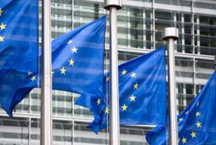 EU flags in front of Berlaymont building
