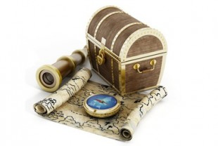Treasure chest, map, compass and looking glass