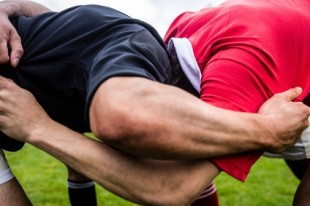 Rugby players doing a scrum