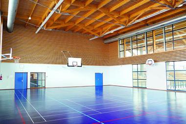 Les équipements les plus énergivores sont les complexes sportifs et culturels, avec une consommation moyenne de 308 kWh/m2. Ici, en contre exemple, la Maison des sports d'Annemasse, qui comporte des éléments HQE.