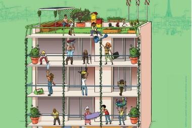 Détail de l'affiche de la Ville de Paris pour son appel à l'habitat participatif.