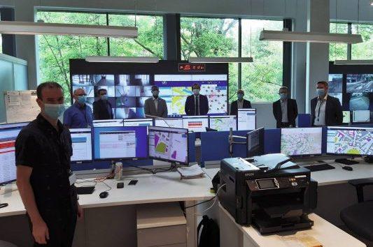 Les partenaires de la chaire en visite au poste de pilotage de la gestion connectée de Dijon Metropole On' Dijon