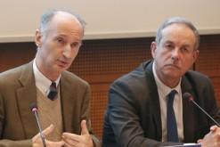 Jean-Luc de Boissieu, président de SMACL Assurances, et Alain Gianazza, président général de la MNT, lors de la conférence du 7 janvier.