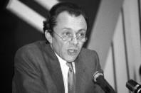 Michel Rocard, ministre socialiste du Plan. Morlaix, octobre 1981