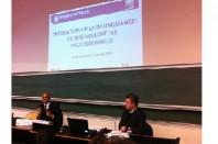 De gauche à droite: Pierre N'Gahane, secrétaire général du CIPD, et Hervé Jouanneau (journaliste)