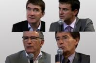 Stéphane Gatignon, maire (EE) de Sevran, Manuel Valls, maire (PS) d'Evry, Pierre Cohen, maire (PS) de Toulouse, et Jean-Paul Alduy, président (UMP) de l'Agglomération Perpignan Méditerranée