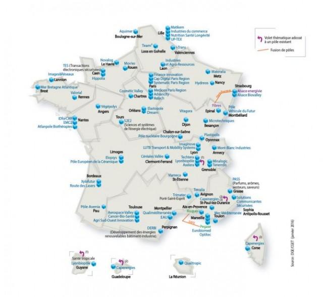 Les 71 pôles de compétitivité au 1er janvier 2016 (Source : Ministère de l'Economie, de l'Industrie et du Numérique)