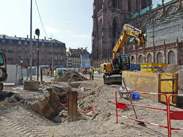 Strabourg, fouilles Place du Château en 2012,  Ji-Elle CC BY SA 3.0