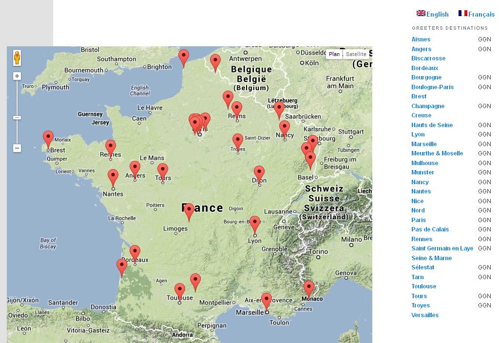 La carte des villes de greeters. Cliquez sur l'image pour l'agrandir. (sources : France greeters federation).