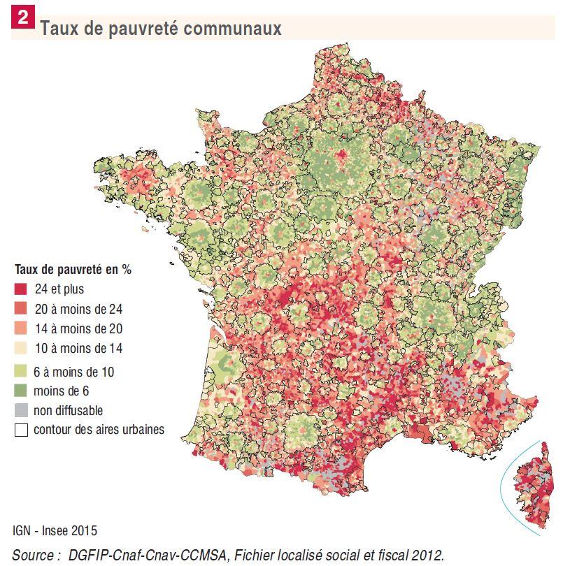 Carte de la pauvreté en France par commune, donnée 2012 de l'Insee