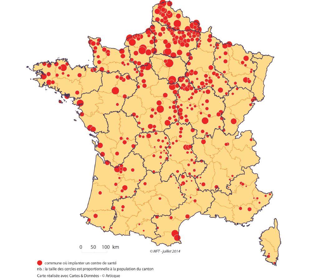 Les 398 cantons éligibles à nouveau un centre de santé