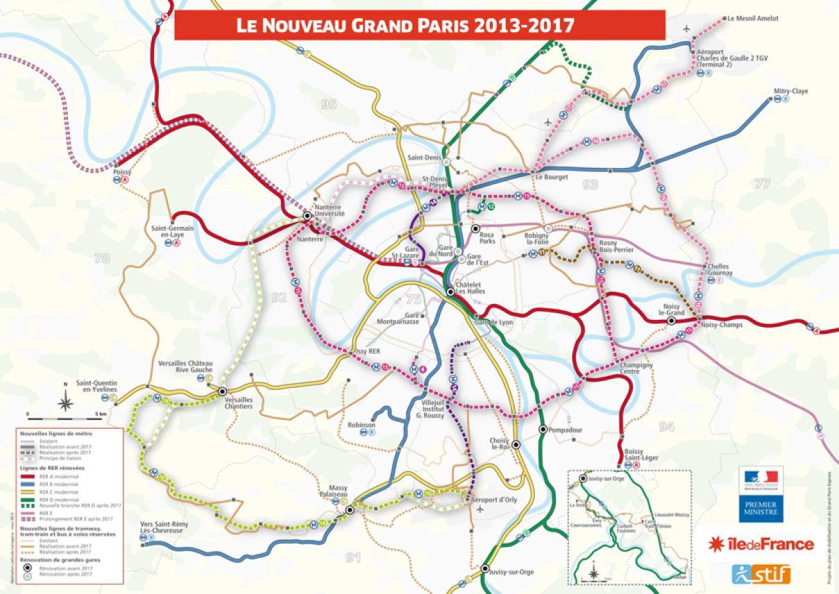 Carte des transports du Nouveau Grand Paris annoncée le 6 mars 2013
