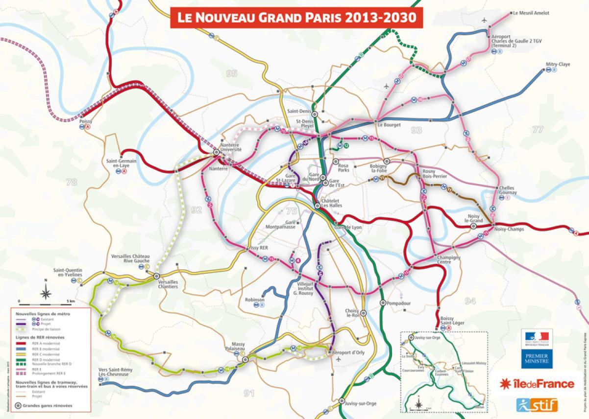 Carte du Nouveau Grand Paris 2013-2030 annoncée le 6 mars 2013