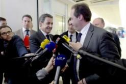 Nicolas Sarkozy, président de l'UMP et Jean-Christophe Lagarde, président de l'UDi, le 30 mars lors d'une conférence de presse commune.