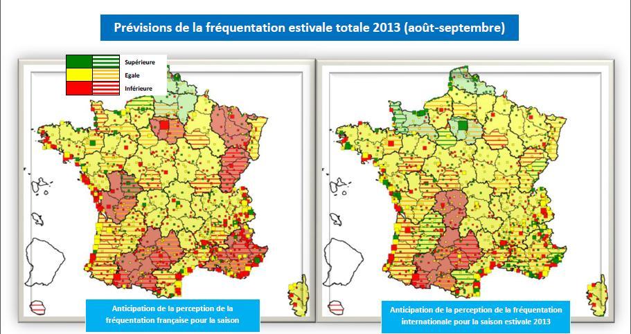 Prévisions de la fréquentation touristique vue par les collectivités et les professionnels interrogés par Atout France cet été.