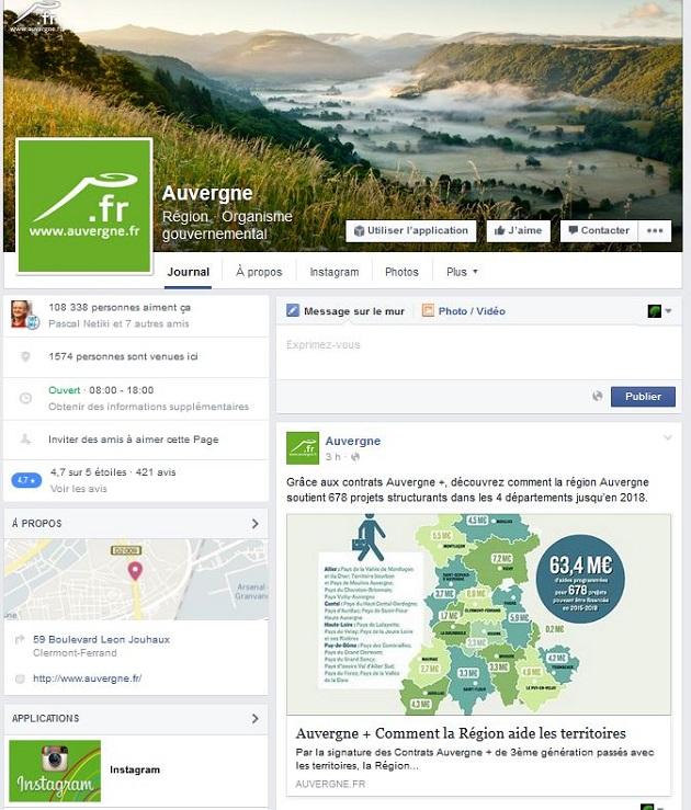 Compte Facebook de l'Auvergne