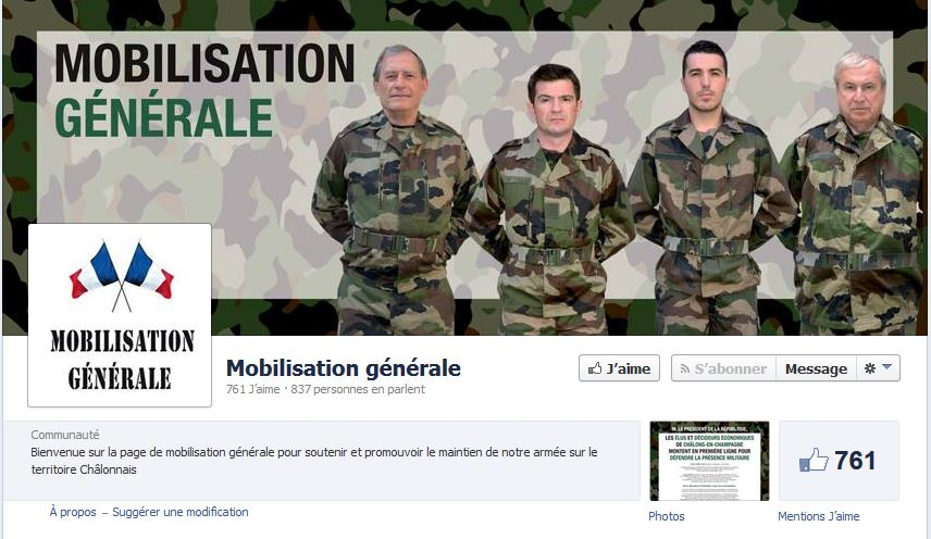 """Capture d'écran de la page Facebook """"mobilisation générale Châlons""""."""
