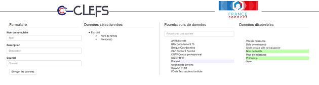 capture d'écran du projet i-clés hackathon France Connect