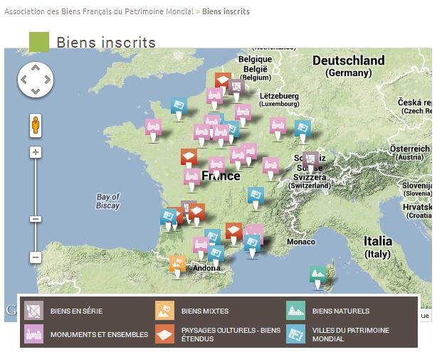 Carte des sites classé par l'Unesco en France. (Sources : association des biens français du patrimoine mondial).