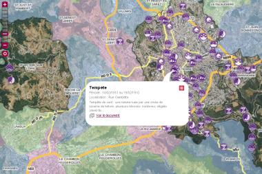 Une page d'écran du Dicrim interactif de Saint-Étienne.
