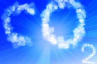 co2 written in the clouds in a clear blue sky