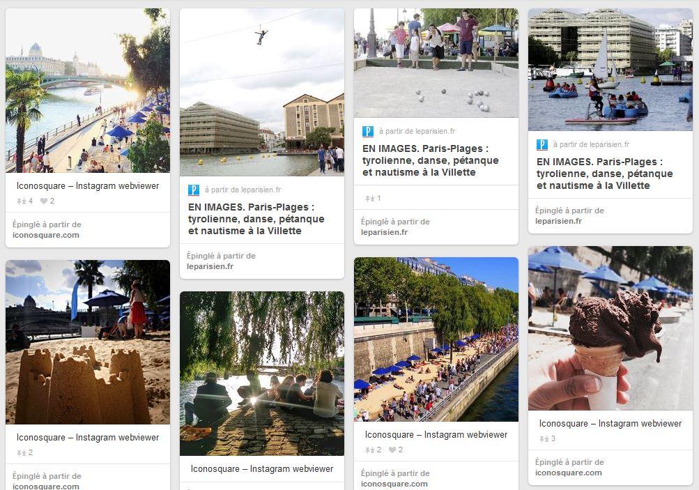 Tableau du compte Pinterest de Paris regroupant des photos de Paris Plages 2015, prises par les photographes de la ville et des citoyens.
