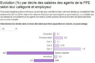 Les salaires ont baissé en 2014 dans la fonction publique d'Etat