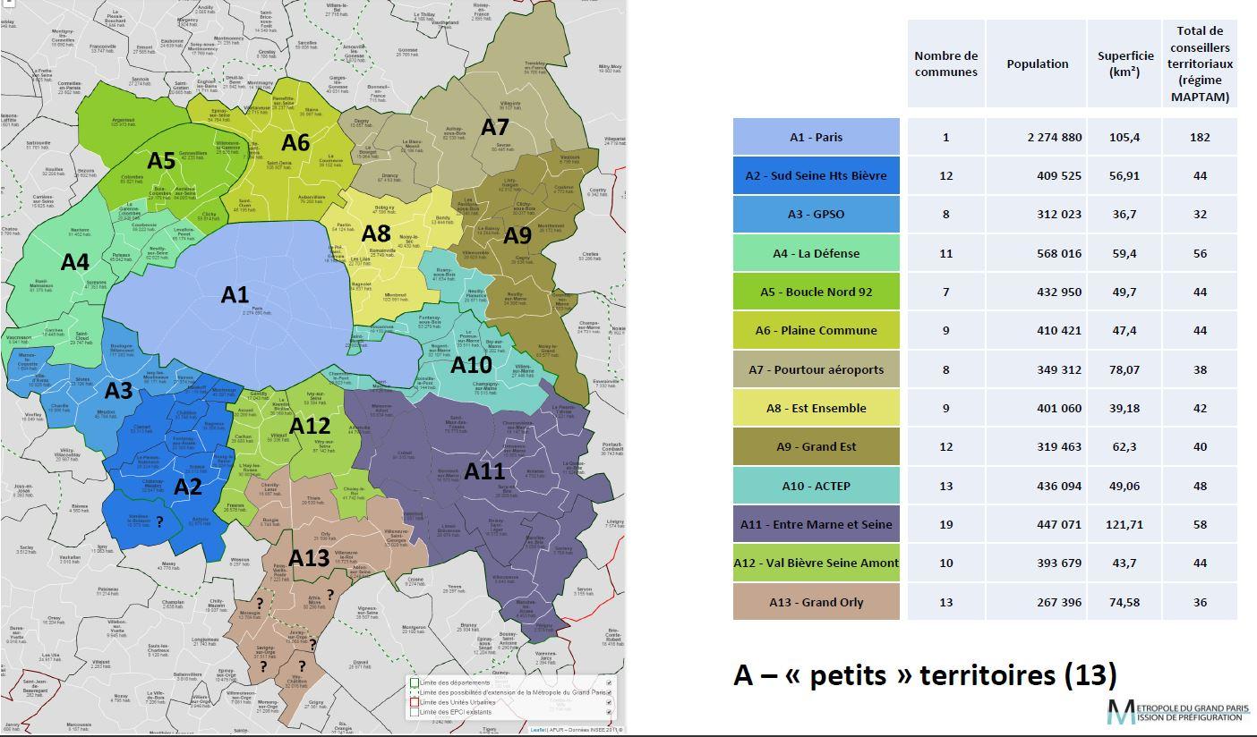 schéma découpage du Grand Paris A