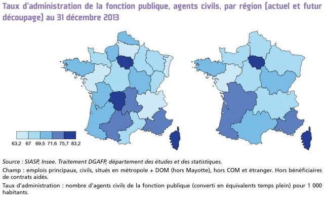Source : DGAFP, rapport état de la fonction publique 2015. Cliquez sur l'image pour l'agrandir.