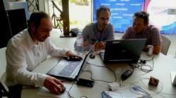 """De gauche à droite, Brice Person, Samuel Julien et Daniel Coissard au """"territoire camp"""""""