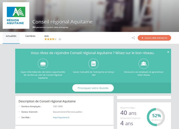compte Viadeo du conseil régional d'Aquitaine